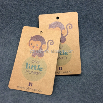 fashionable custom recyclable Kraft paper hang tag with eyelet for clothing