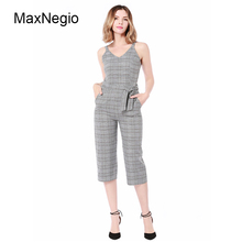 Maxnegio 2018 Sexy V-hals Mouwloze Printing Streep Katoen Linnen <span class=keywords><strong>Jumpsuit</strong></span> Vrouwen