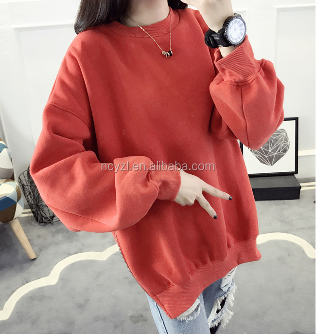 fashion design cotton long sleeve hoody have zip for women