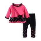 Wholesale Custom High Quality Polyester Children Wear Kids Girl Clothing Sets With Bow
