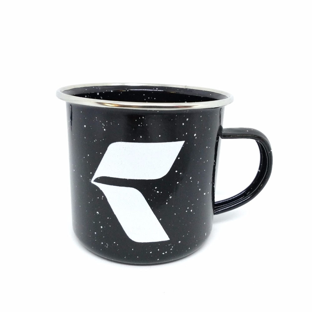Customed metal black enamel mug cup with sliver rim white speckle dots enamel mug for milk coffee and drinking