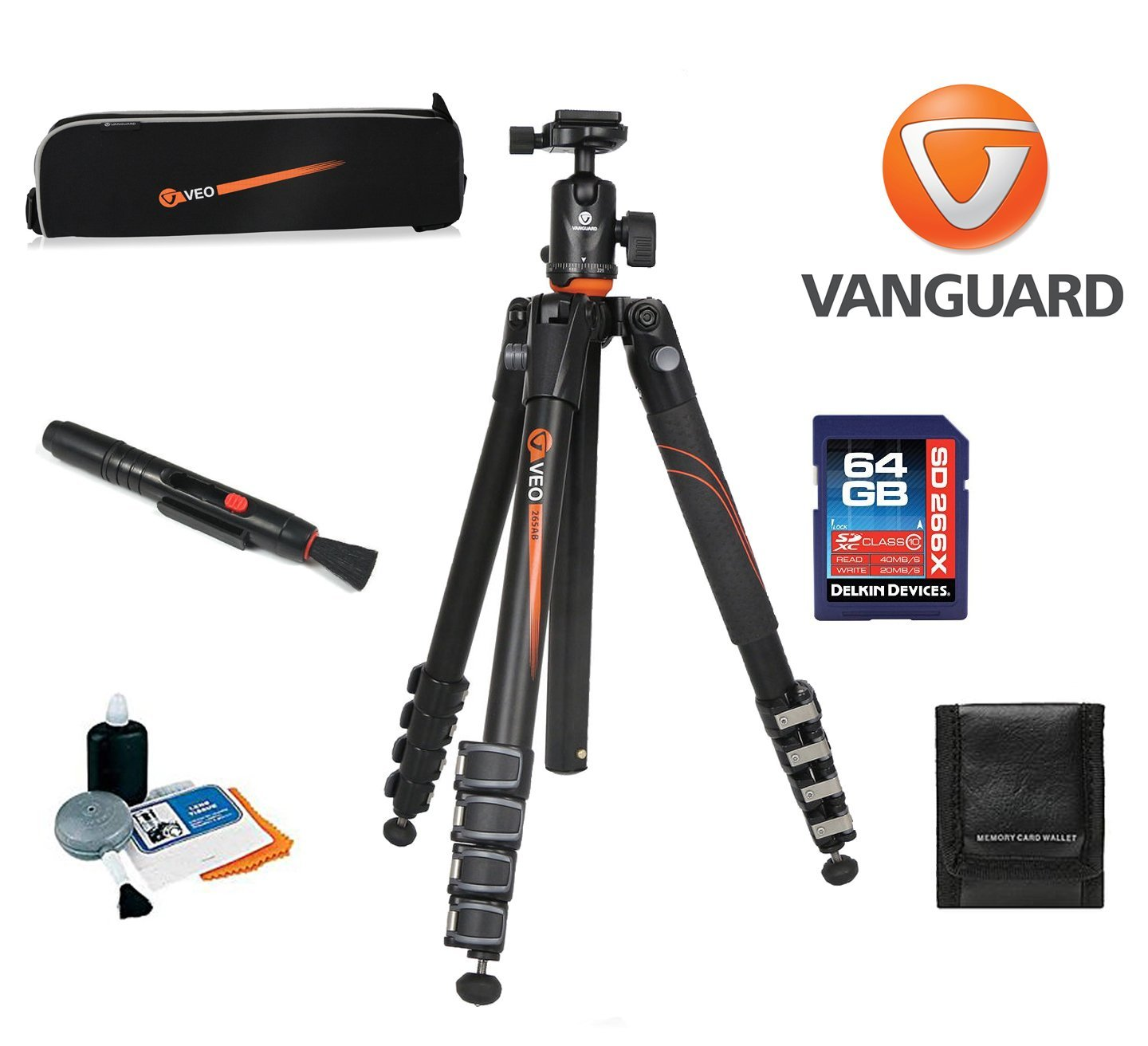 Vanguard VEO 265AB Aluminum Tripod with TBH-50 Ball Head W/ Vanguard Case, 64GB SDXC Card, Cleaning Kit, Lens Pen, Memory Card Wallet