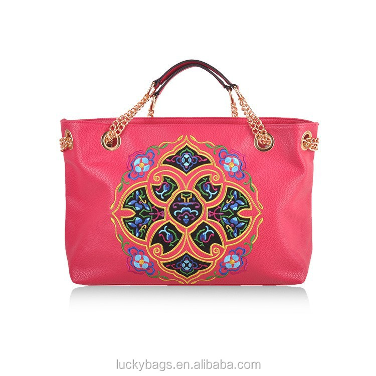 Top quality ladies leather bags chinese ethnic shoulder bag