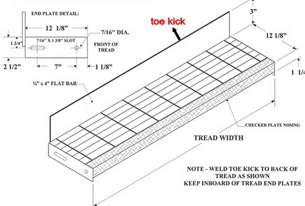 Welded Metal Stair Tread With Checkered Plate Nosing Buy