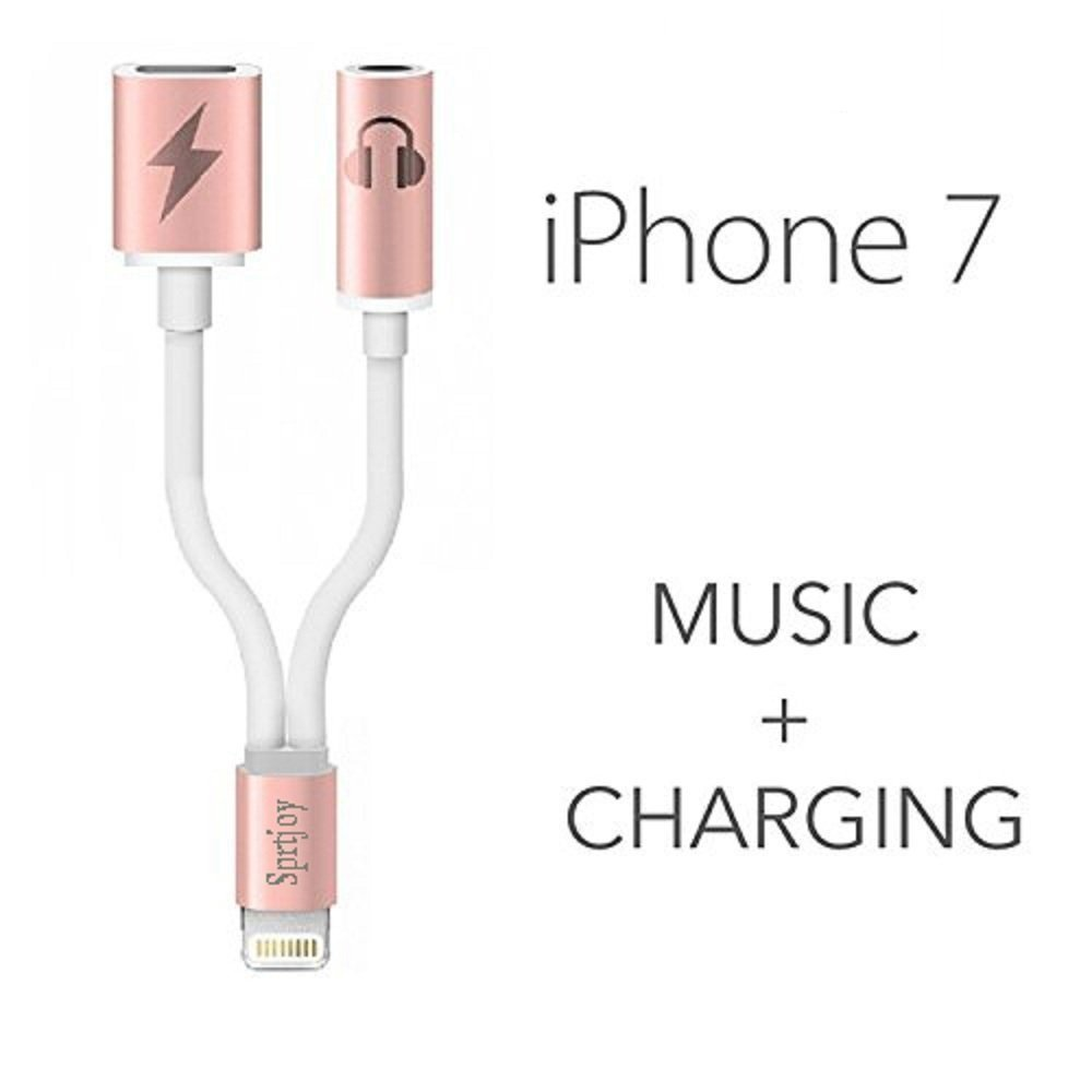 2 in 1 Lightning to 3.5mm Aux Audio Adapter for iPhone 7 / 7 Plus, Sprtjoy 3.5mm Earphone Jack Extender Stereo Connector and Lightning Charging Converter (Rose gold)
