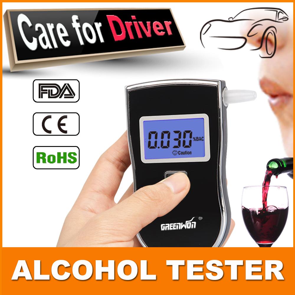 10 шт. / Lot профессиональный полиция цифровой дыхание спирт алкотестер AT818