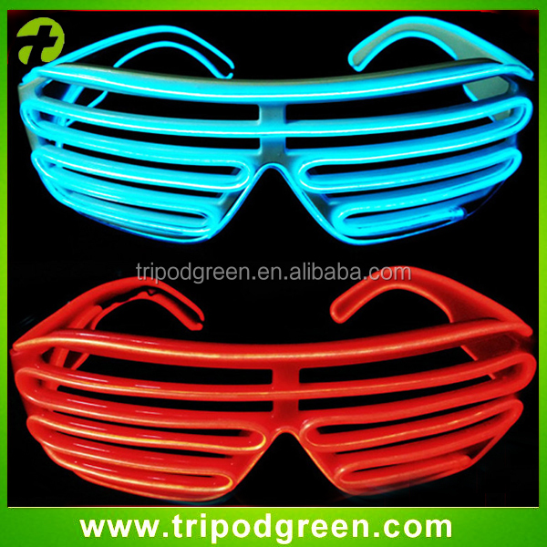 White Frame Neon El Wire Led Light Up Shutter Glasses Two Colors+ ...