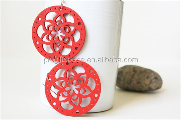 New desgin RED Flower Laser Cut Naturally Beauty Wood Earring made in China