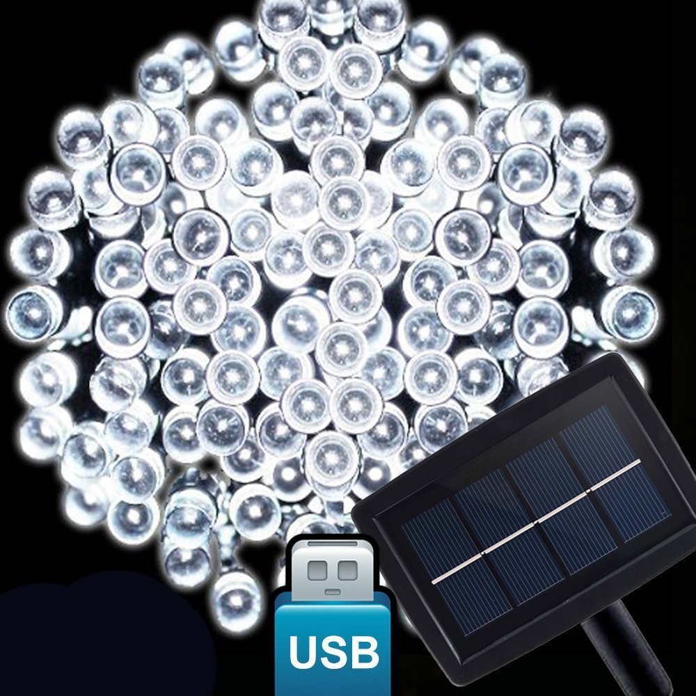 [World First Release] [With USB Interface] 75ft 200LED Amir® Solar Powered LED String Light, With USB Port for Power Bank, Computer, Wall Charger, Indoor/Outdoor Ambiance Lighting,Solar Christmas Lights, Solar Fairy String Lights for Gardens, Homes, Christmas Party (White)
