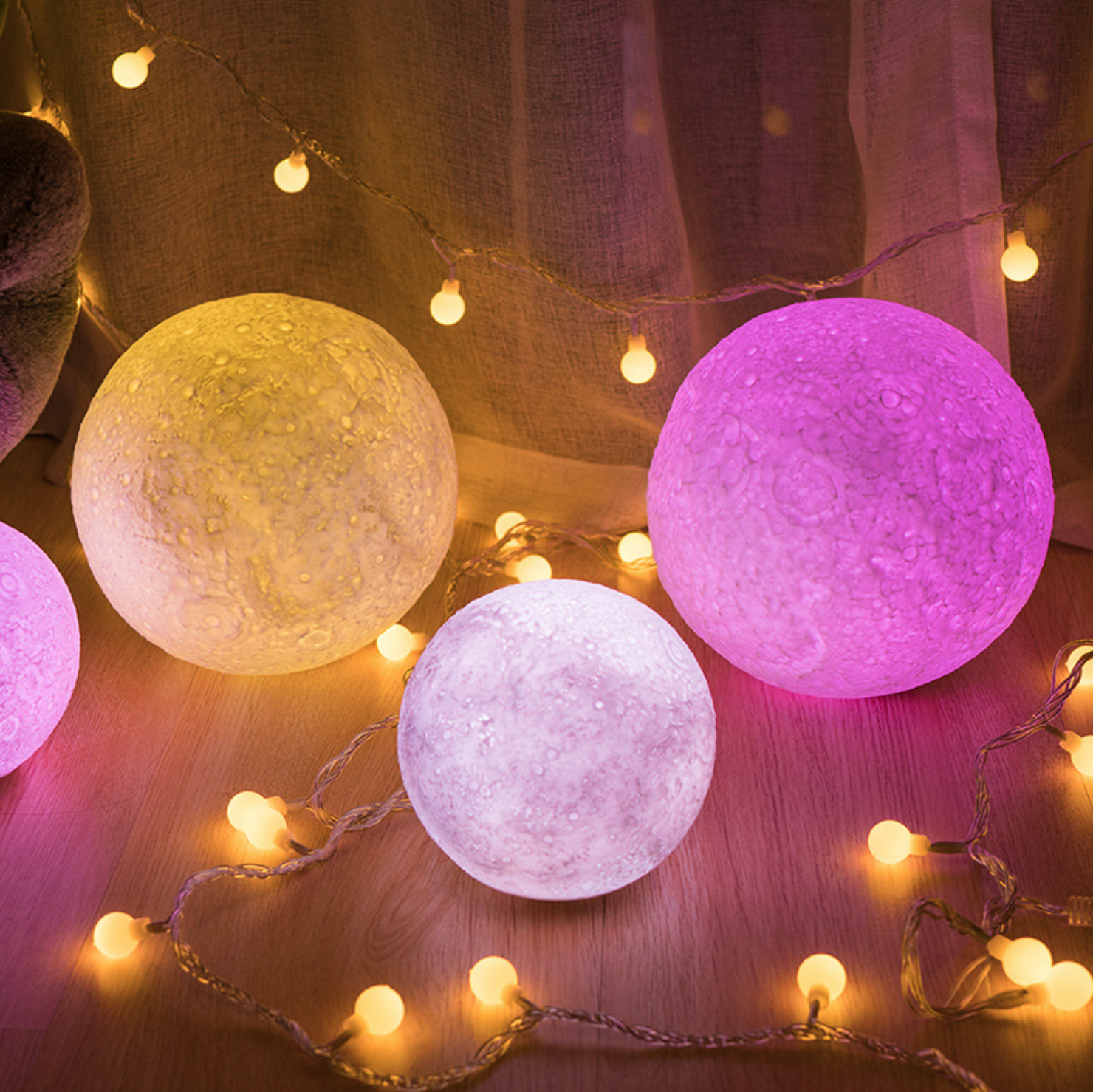 2018 Favorite Valentines Gifts Decorative Lights 3D Print LED 16 Colors RGB Moon Light with Remote&Touch Control and Adjustable