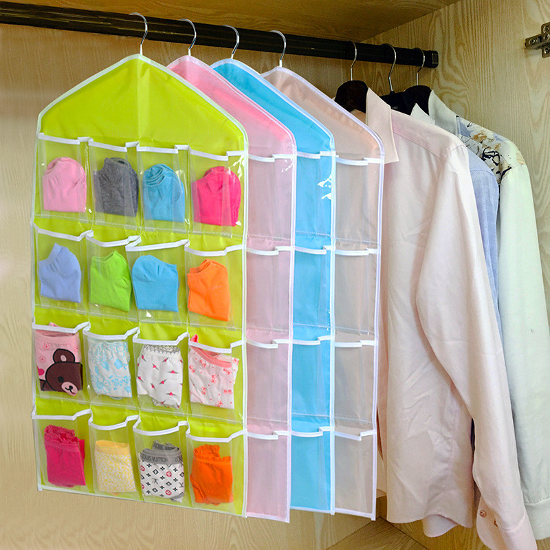 2019 Whole 16pockets Clear Hanging Bag Socks Bra Underwear Rack Hanger Storage Organizer Closet Clothes Organizing Bags Drop Shipping From Copy02