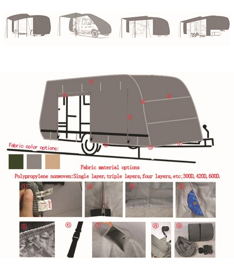 Caravan Accessories Caravan Sun Snow Protection Waterproof Oxford 300D RV Cover