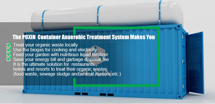 PUXIN 20FT container anaerobic treatment system for large scale food waste treatment