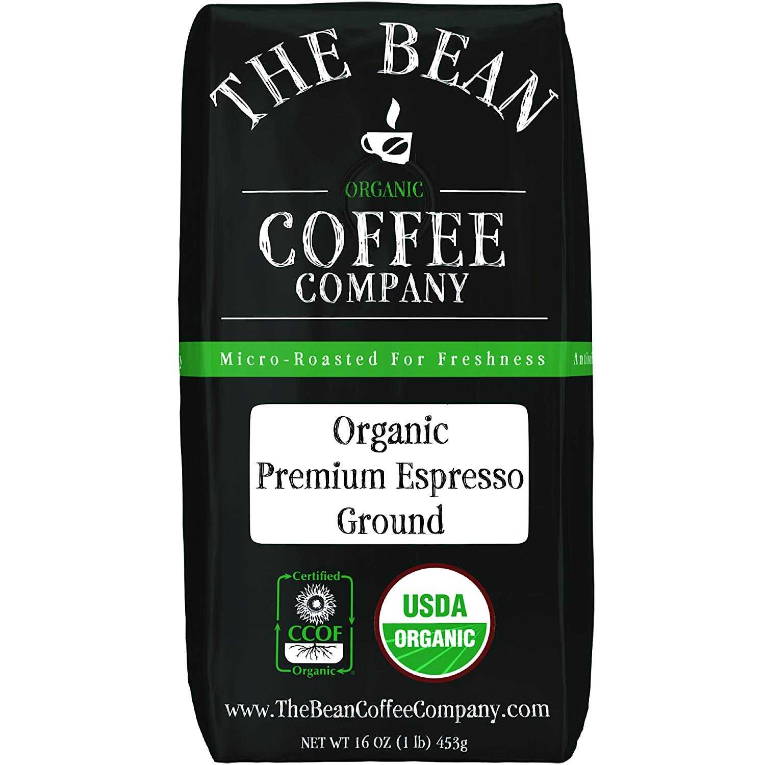 The Bean Coffee Company Organic Premium Espresso, Dark Roast, Ground, 16-Ounce Bag