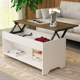 Living Room Modern Wooden Adjustable Height Lifting Coffee Table with Drawer