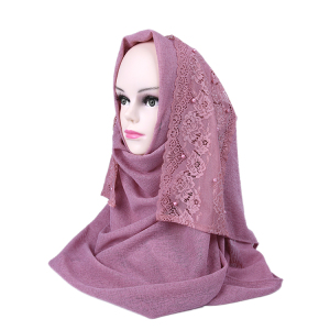 2019 New Design Scarf Soft Material Beautiful Lace Arab Scarf Women Hijab