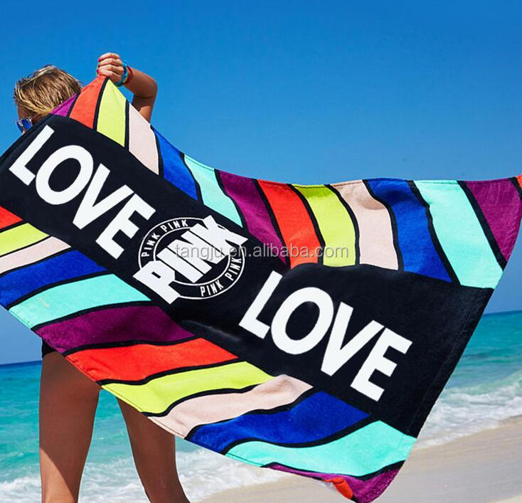 100cotton Seaside sexy popular 75*150cm customized design reactive printed velour beach towel