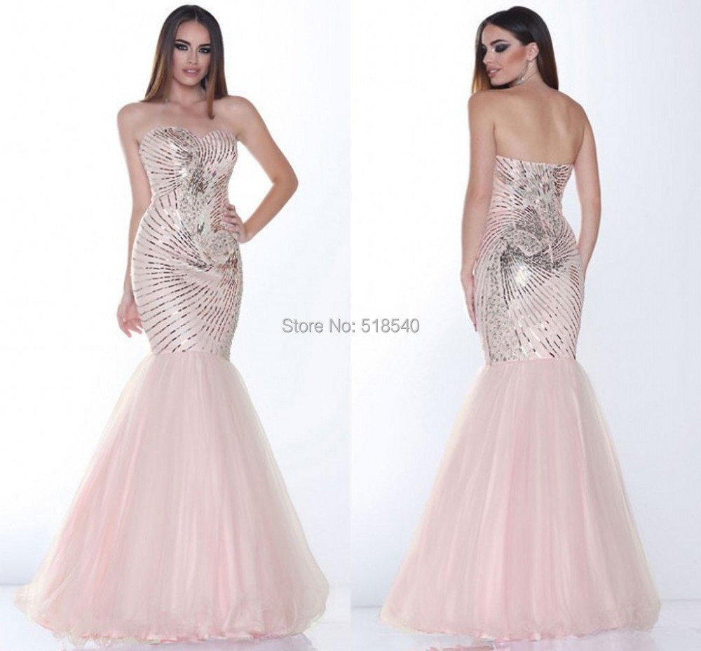 16-op New Luxury Sexy Sweetheart Off the Shoulder Gorgeous Sequined Pink Floor Length Mermaid Evening Formal Prom Dresses 2014