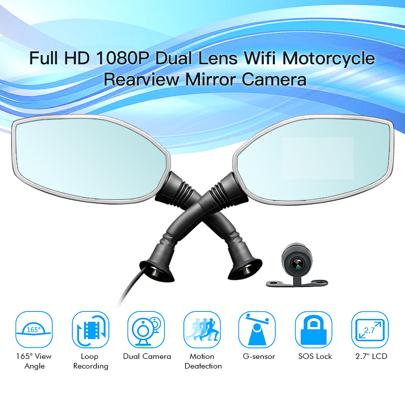 2.7 inch wifi dual rearview 2 channel motorcycle dvr motorcycle camera