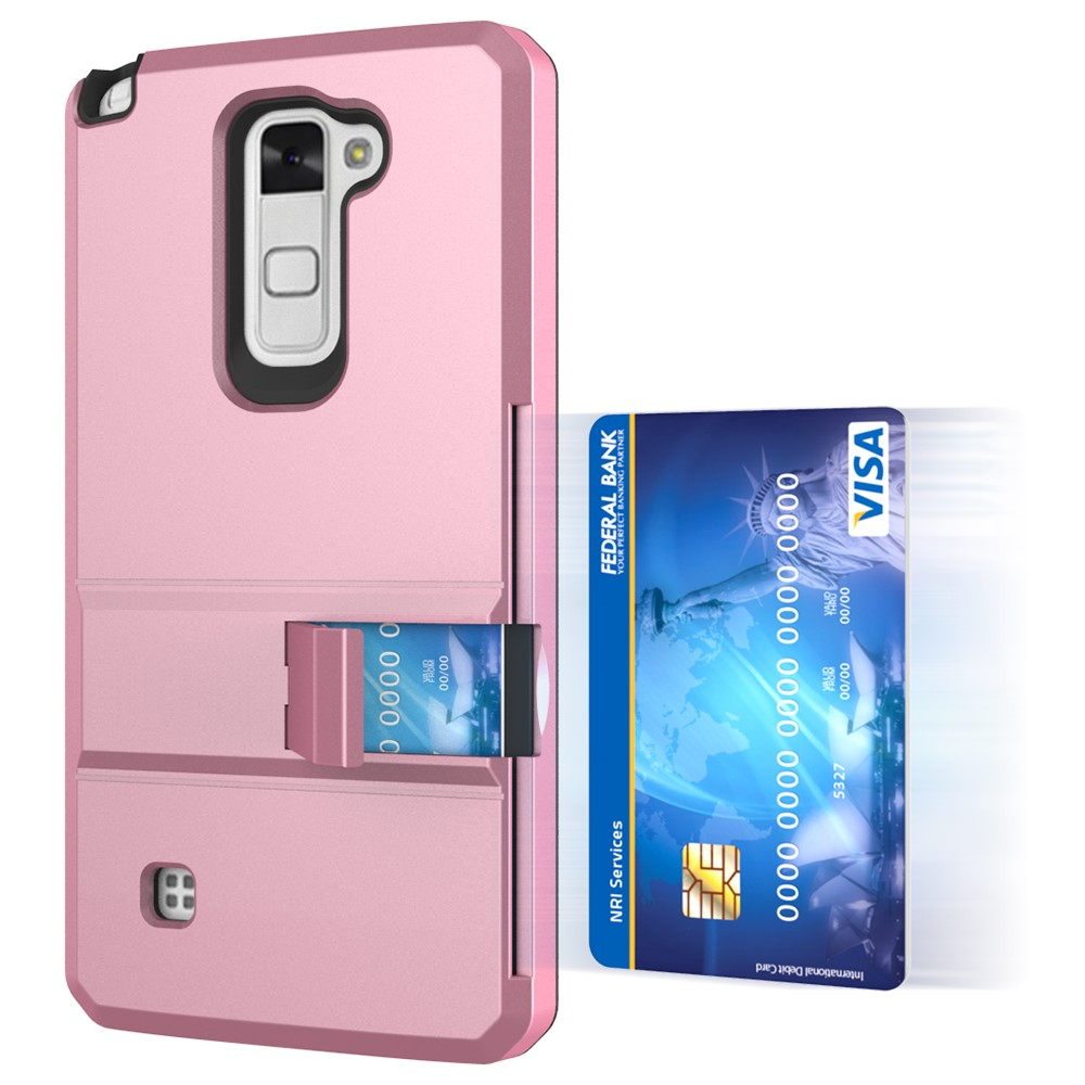 lg stylo 2 cases. credit card holder hard protective kickstand phone cover case for lg stylus 2 plus ms550/ lg stylo cases