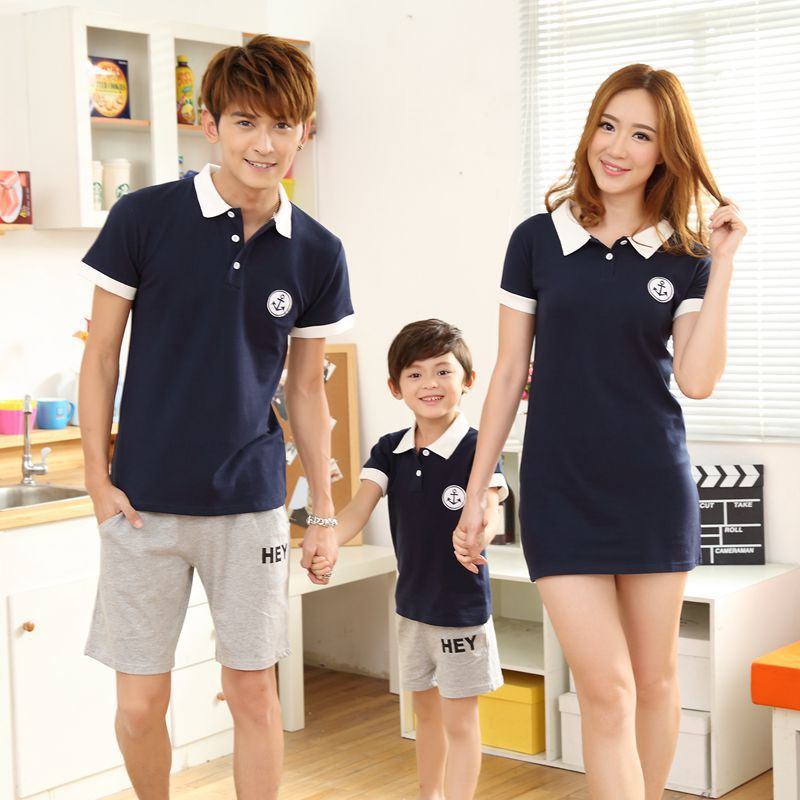 2015 New Simple Classic Dark Blue Polo Shirt and shorts Family Matching Outfits Family suit Mother