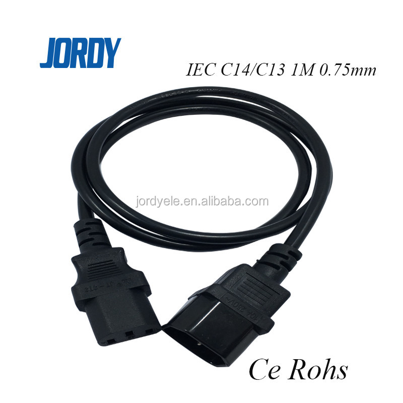 H05VV-F 0.75mm 1M 10A 250V IEC c13 c14 connector power cord