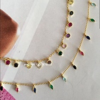 18K gold plated color stone jewelry rainbow necklace for girls