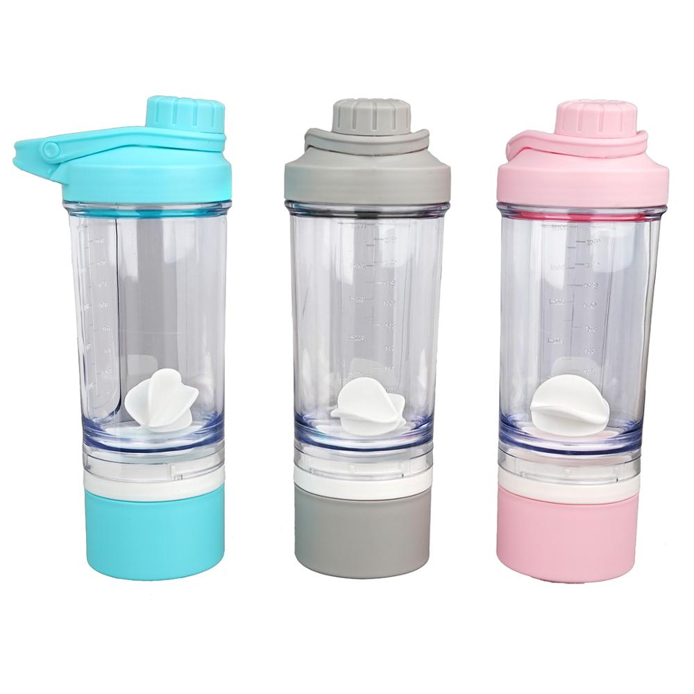 500ml New Design Can Customization Plastic protein powder gym sports shaker water bottle with storage box