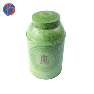 Wholesale round tea packaging canister tea tin