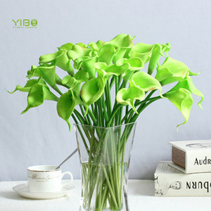 Real Looking PU Green Calla Lily Real Touch Artificial Flower