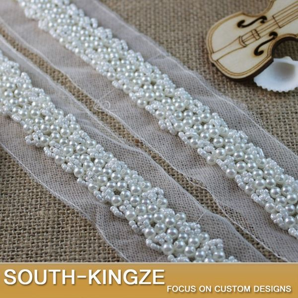 1 Yard White Color Lace Beaded Trims 4.5cm Width Handmade For Dress Garment DIYYC