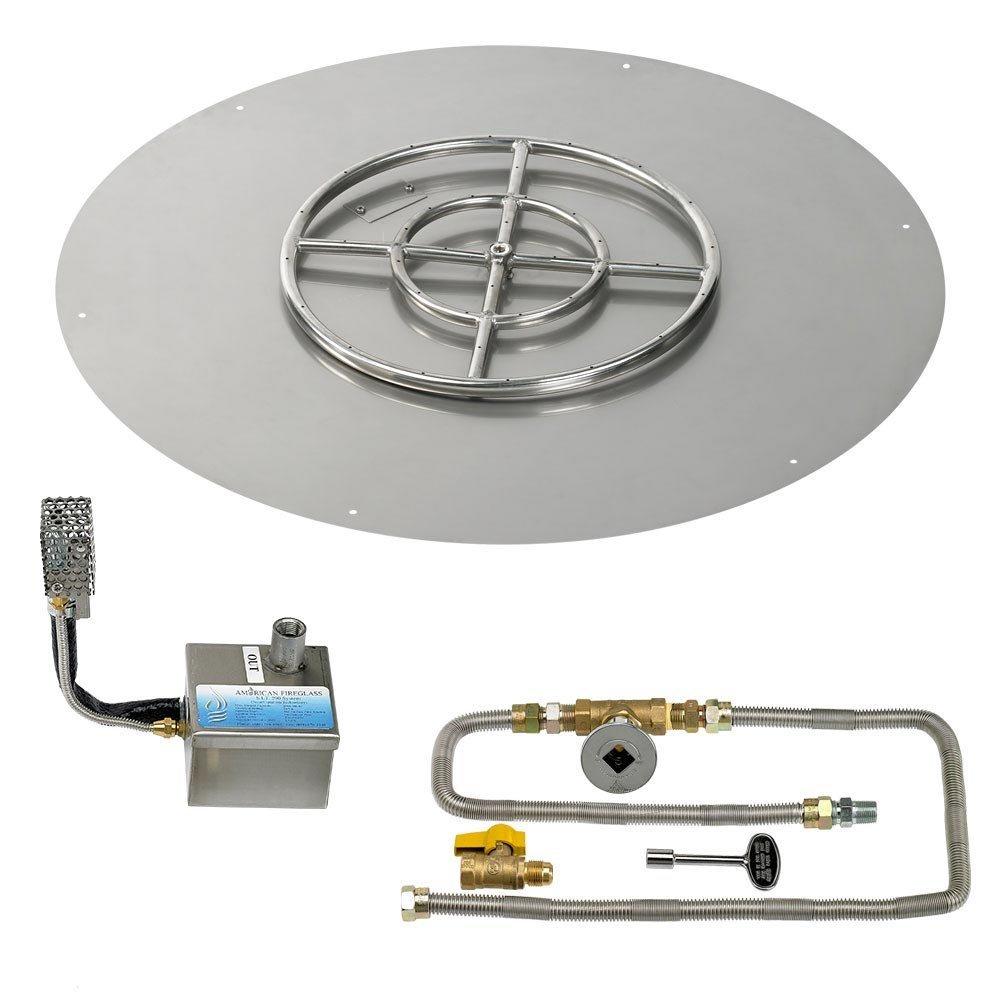 American Fireglass SIT Electronic Ignition Fire Pit Kit (SS-RFPSIT-N-36), Round Flat Pan, Natural Gas, 36-inch Pan/18-Inch Burner