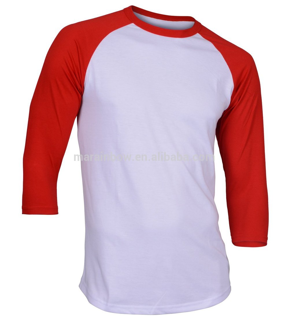 Soft cotton plain baseball tee promotional china for Custom raglan baseball shirt