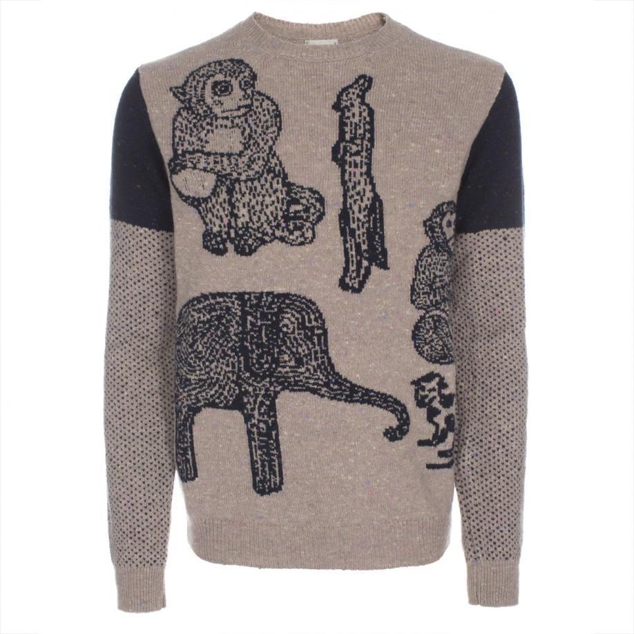 Mens Taupe Cashmere Blend Desert Animals Intarsia Sweater Buy