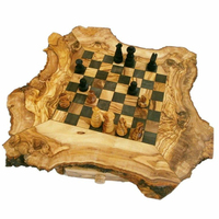 luxury Wood shape chess board / Natural Chessboard with free pieces / CHESS GAME, SET