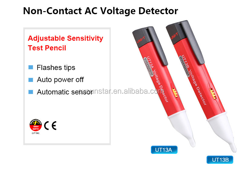 UT13B AC 50-1000V Voltage Detector Pen Flashing LED Light Indication Voltmeter Voltimetro Tester