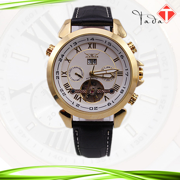 32pcs/lot winner series high end automatic self-wind JARAGAR genuine leather band stainless steel watch