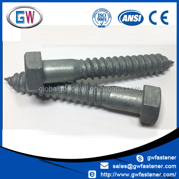 Factory Price Din571 Hex Head Galvanized Lag Screw