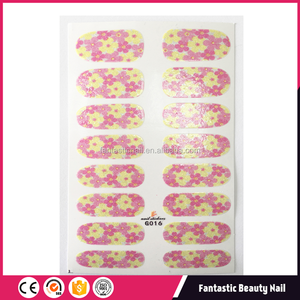 Nail sticker pink and yellow beautiful flower nail patch nail wrap