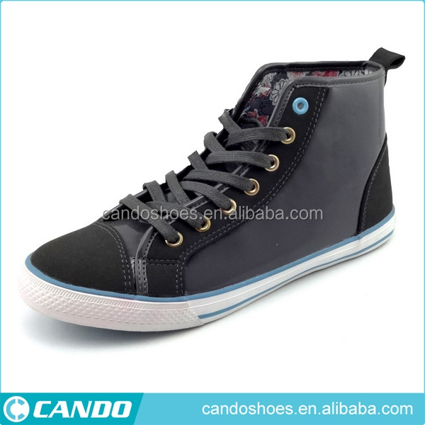 high neck PU leather athletic shoes men sport footwear