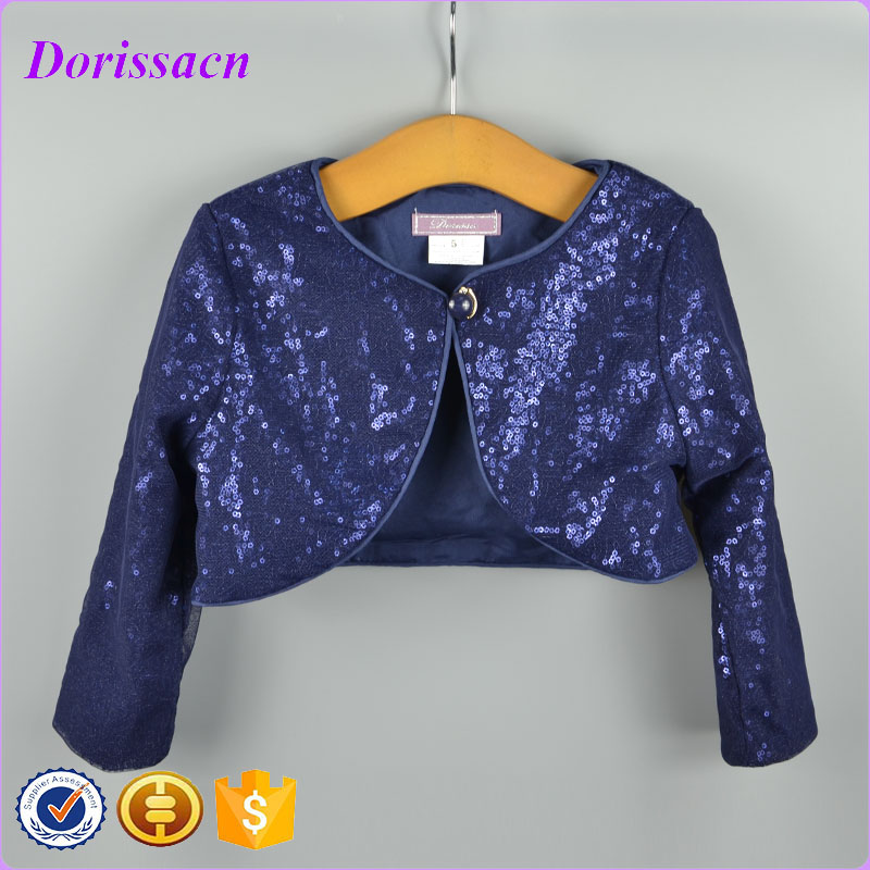 New Fashion Baby Dress Wrap Girl Short Jacket Sequin Fabric Long Sleeve  Kids Cardigan Child Bolero 69304a77bb98