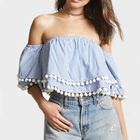 2017 fashion clothing vertical striped pom pom trims women off shoulder tops