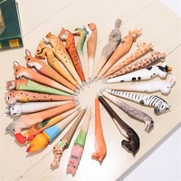 Tourist Attraction Wood Carving Painting Technology Neutral Lovely Bird Animal Ballpoint Pens