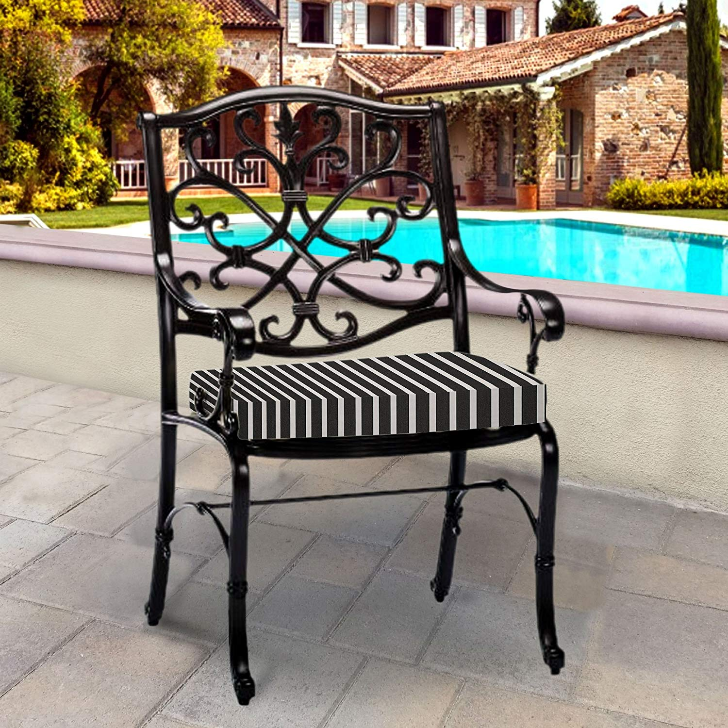 Thomas Collection Outdoor Cushions, Black White Patio Cushions, Outdoor Dining Cushions, One Outdoor Patio Seat Cushion, Handmade in USA, 13143