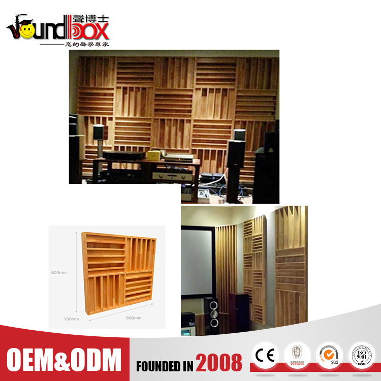 Eco-friendly 600*600*100mm improving sound articulation solid wood QRD diffuser in Opera houses, music halls