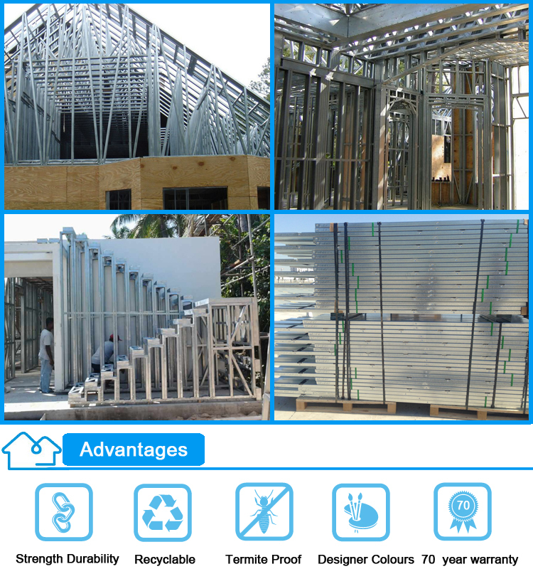 China supplier modern design light gauge steel framing for Modern steel frame homes
