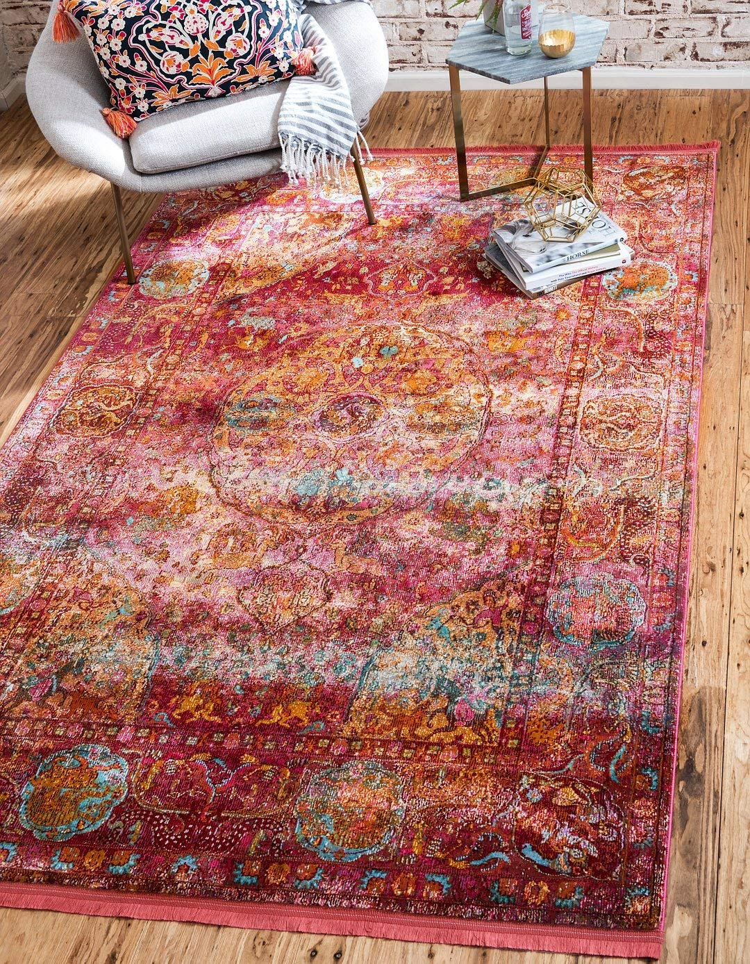A2Z Rug Red 5' 5 x 8' Feet St. Tropez Collection Traditional and Modern Area Rugs and Carpet
