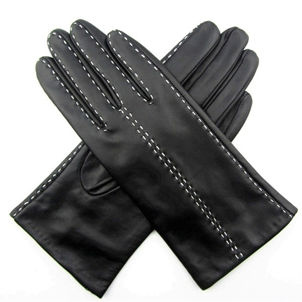 white stiching ladies winter wool lined leather glove