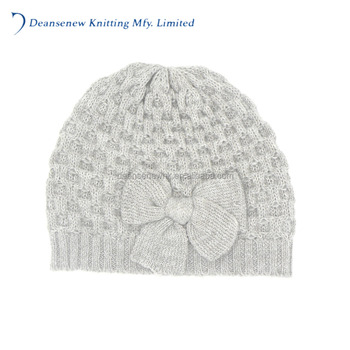 OEM Custom Labels Cute 70% Acrylic 30% Wool Bow Pattern Fall Winter Warm Adult Women Teen Girl Multi Color Cable Knit Beanie Hat