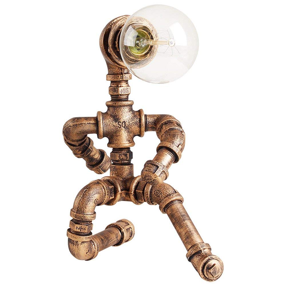 CGJDZMD Vintage Style Steampunk Robot Water Piping Desk Lamp Industrial Loft Wrought Iron Table Lamp with Dimming Switch for Bedroom Living Room Bar Bedside Night Light